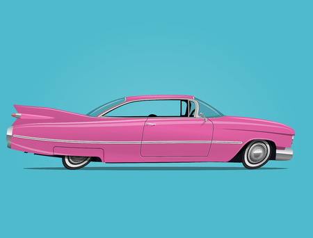 Cartoon styled funny vector illustration of the vintage pink car.