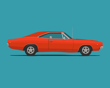 American Classic Red Color Muscle Car. Vector Illustration.