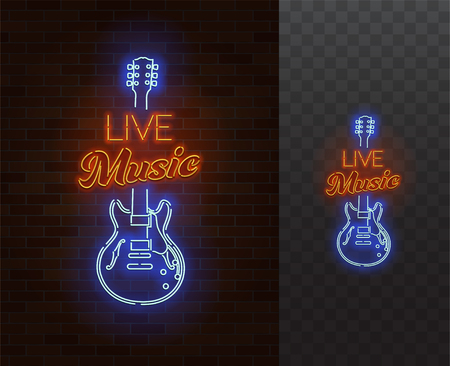 Live Music Neon Sign. Gitara z podpisem. Realistyczna wektorowa ilustracja. Party plakat. Przezroczyste tło.