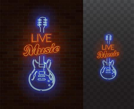 Live Music Neon Sign. Guitarra con subtítulos Ilustración de vector realista. Cartel de fiesta. Fondo transparente.