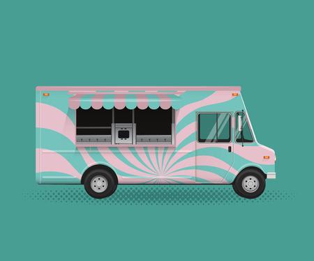 Food Truck Vintage Vector Illustration. Poster Flyer Template.