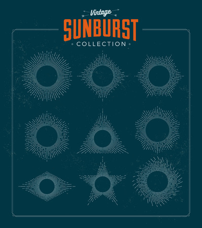 Vintage styled sunburst set collection. Vector illustration. Sunbursts.
