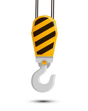 Construction Industrial Heavy Crane Hook Vector Illustration Icon Logo