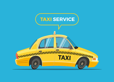 Cartoon Taxi Vector Illustration. Funny yellow   cab.