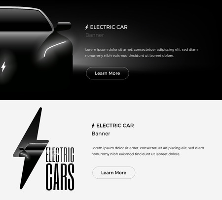 Electric Car Web Banners Template. Modern Minimalist Styled Vector Illustration.