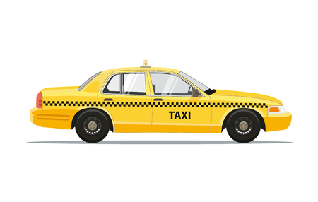 Carrozza gialla dell'automobile del taxi isolata su fondo bianco. Illustrazione vettoriale di taxi. Archivio Fotografico - 90061556