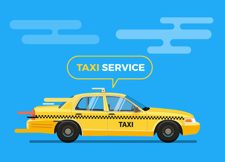 Fast Taxi Car Vector Illustration. Taxi Service Themed Illustration for your flyer, poster, banner.