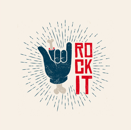 Rock It Logo Design. Rock-n-Roll Punk themed vintage styled vector illustration. Illustration