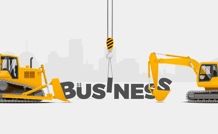 Build Your Business. Business Creation themed banner, vector illustration. Building Business Concept.