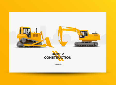 Under Construction Website Web Banner Template. Modern Styled Vector Illustration.
