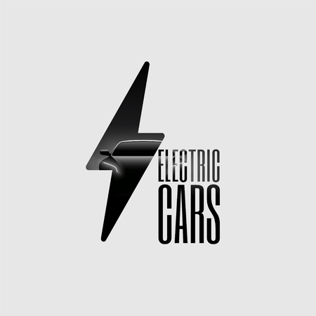 Electric Car Poster Flyer Banner Sign Template. Minimalist Vector Illustration. Logo.