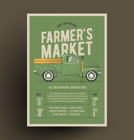 Farmers Market Flyer Poster Invitation Template. Based On Old Style Farmers Pickup Truck. Vector Illustration.
