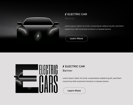 Electric Car Web Banners Template. Modern Styled Vector Illustration. Illustration