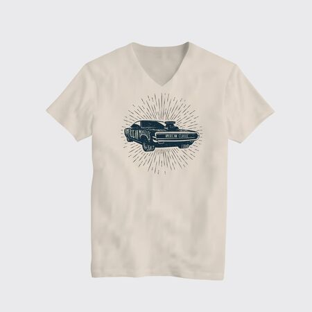 American Classic Muscle Car T-Shirt Design Template. Vector T-Shirt Illustration.