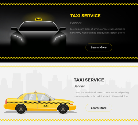 Taxi Services Web Banners. Taxi themed vector illustration.