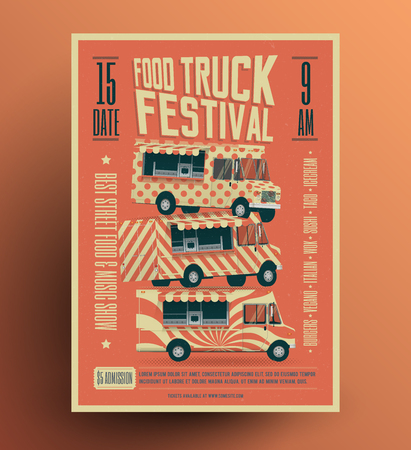 Food Truck Street Food Festival Poster Flyer Template. Vintage styled food fest vector illustration.