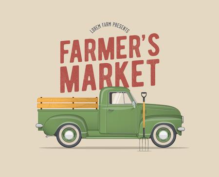El mercado temático del mercado del granjero diseñó el ejemplo del vector de la camioneta pickup verde del granjero de la escuela vieja para su diseño de la bandera de la postal de la invitación del aviador del cartel.