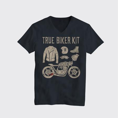 오토바이 타는 사람 카페 레이서 테마의 t- 셔츠 디자인 모형. 빈티지 스타일 벡터 일러스트 레이 션. 일러스트