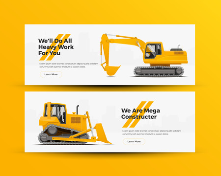 Construction Machinery Banners for Building  Construction Development Company Website. Vector Illustration.