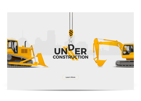 Under Construction Banner Poster Template. Web design. Vector Illustration. Illustration