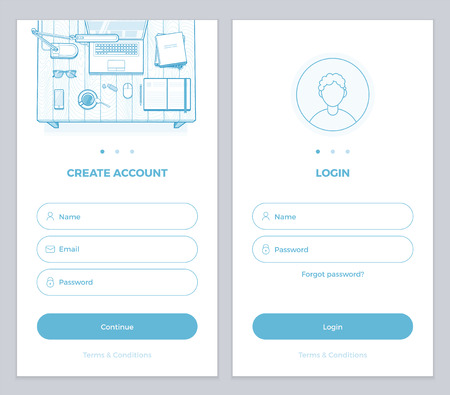 New User Account Create and User Login pages UI for mobile APP or website. Minimalist vector illustration for your website or mobile app. Sign up, Sign in page mockup.