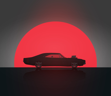 Classic Vintage American Side View Muscle Car in Sunset Silhouette. Vector Illustration. Poster Template for your needs.