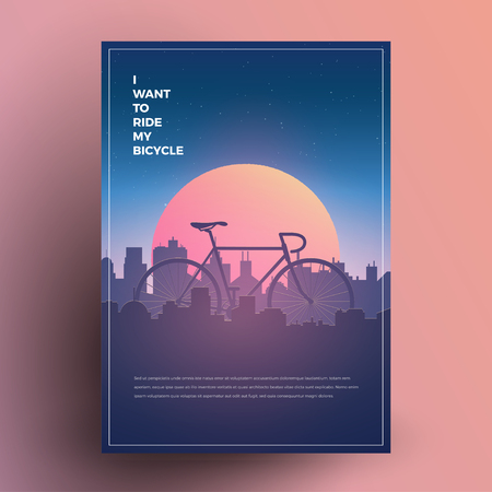 I want to ride my bicycle. Modern minimalist poster, print, flyer, banner template for your bicycle sport event, party or any needs. Vector Illustration. Çizim