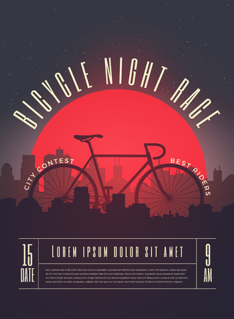 Bicycle Night Race Contest Poster, Flyer, Banner Template. Vector Illustration.