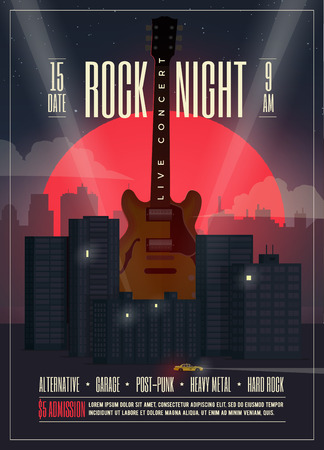 Live Concert Rock Night Poster, Flyer, Banner template for your event, concert, party, music show, festival. Vector illustration. Illustration