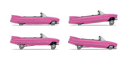 Vector Illustration of the Classic Cartoon American Car lowrider in different positions. Side view. Template for your poster flyer banner etc. for your event. Vettoriali
