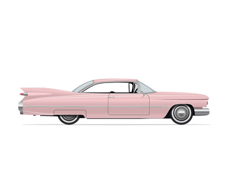 Classic American Vintage Pink Car. Side view Retro Car. Vector Illustration.