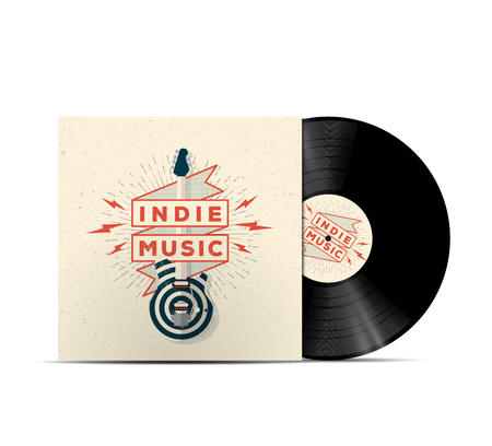 Indie Music Vinyl Disc Cover Mockup. Cover for your music playlist. Realistic vector illustration for your projects. Illustration