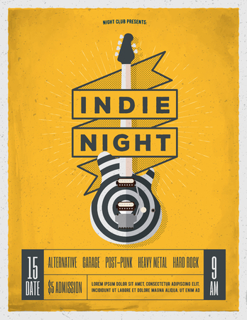 Rock Night Party Poster. Flyer. Banner. Poster Template. Vintage Styled Vector Illustration.