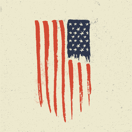 Hand Drawn American Flag. Handcrafted Grunge vintage styled vector illustration. Illustration