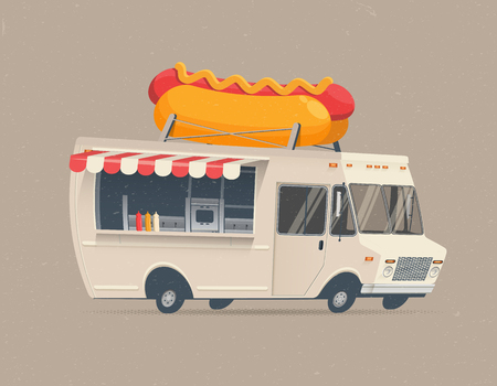 Food Truck Hot Dog. Cartoon Vintage styled vector illustration.