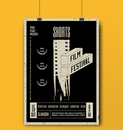 Shorts Film Festival Template. Movie Poster Mockup. Grunge Vector illustration. 일러스트