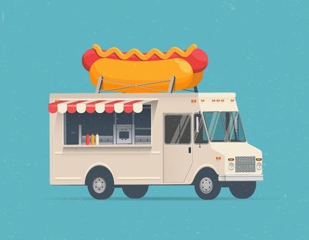 Hot Dog Street Food Truck. Vintage Styled Vector Illustration for your Flyer, Poster, Advertising.