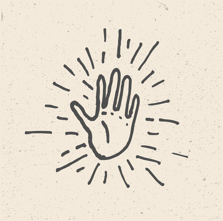 High Five Hand. Minimalist hand drawn vector illustration. High Five Icon.