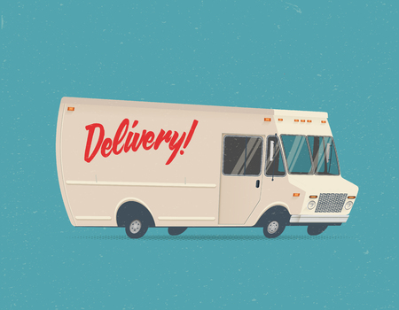 Cartoon Styled Vintage Delivery Truck. Vector Illustration.