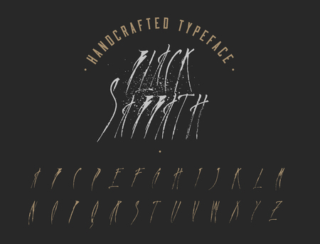 Black Sabbath Handcrafted Typeface. Handmade font. Vector Font Illustration. Illustration