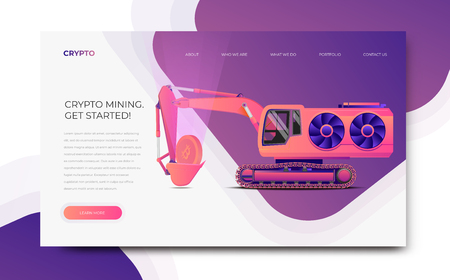 GPU Miner Digger. Cryptocurrency mining themed banner template. Mining farm server website template. Modern styled vector illustration. Illustration
