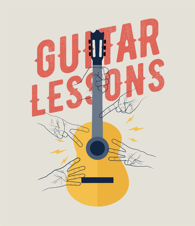 Vintage Styled Guitar Lessons Poster Flyer Banner Template. Perfecto for your guitar classes. Vintage Styled Vector Illustration. 일러스트