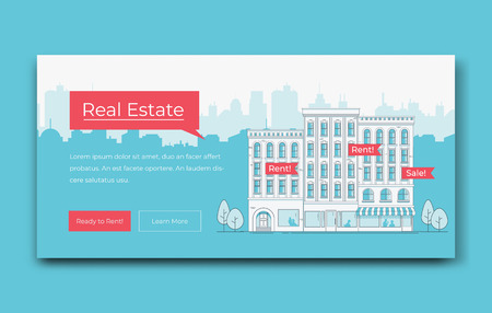 Real Estate Website Banner Template. Modern  Vector illustration.