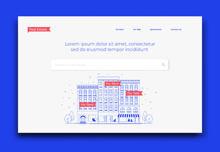 Real Estate Company Website Homepage Mockup Template. Modern Vector Illustration.