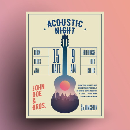 Acoustic Guitar Live Music Night Party Concert Poster or Flyer or Banner Template. Vintage Styled Vector Illustration.