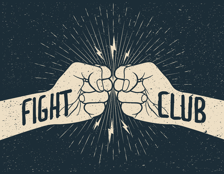 Fight Club. Two Arms with Fight Club Sign. Grunge styled Vector Illustration.