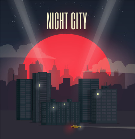 Night City Cityscape with Big Red Moon. Vector Illustration.