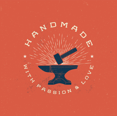Vintage Handmade Label Badge with Anvil and Hummer. Retro Grunge styled vector illustration.