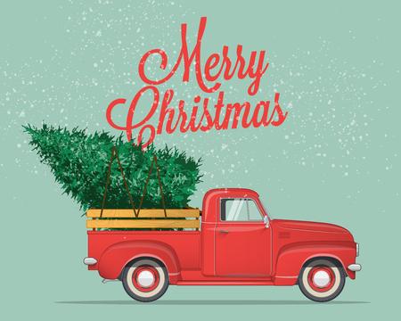 Prettige kerstdagen en gelukkig Nieuwjaar briefkaart of poster of flyer sjabloon met retro pick-up truck met kerstboom. Vintage stijl vectorillustratie.