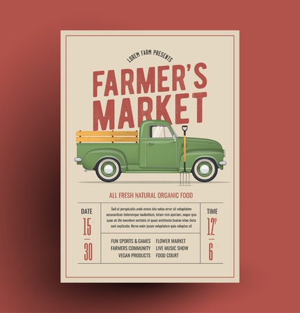 Farmers Market Flyer Poster Template with farmers vintage pickup truck for your farmers market event. Vector Illustration.